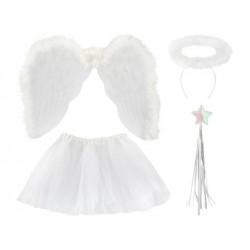 Křídla anděl péřová + svatozář + hůlka + sukně