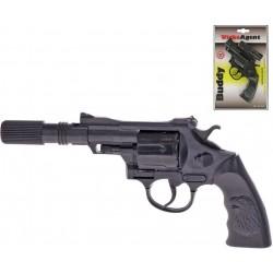 Pistole dětská kapslovka Buddy 23cm s tlumičem 12 ran plast