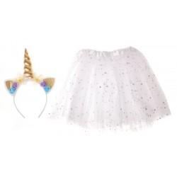 Dětský kostým bílá sukně s čelenkou jednorožec KX7211