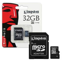 Kingston 32 GB micro SD-HC + adaptér