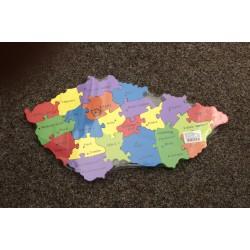 Dřevěné puzzle Mapa ČR  Města