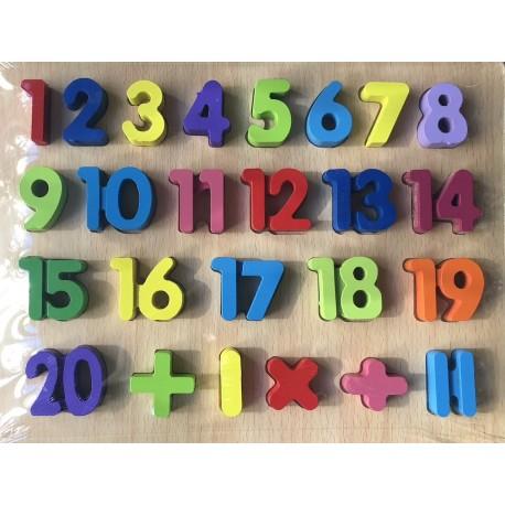 Dřevěné Číslice na desce