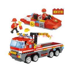 COGO City Hasičské nákladní auto a člun 4136 354ks