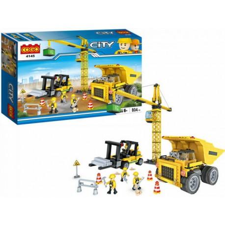 COGO City stavebnice jeřáb a stavební vozidla 4145 804ks