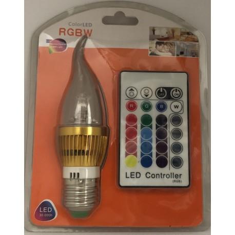 RGB LED žárovka E27 3W color + dálk.ovl.