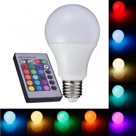 RGBW LED žárovka 7W E27 470lm s ovladačem