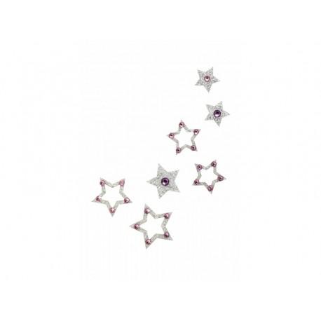 Dámské šperky na tělo stříbrné hvězdičky růžové