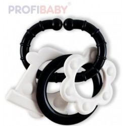 PROFIBABY Baby kousátko 4 tvary s klipem černobílé pro miminko