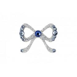 Nalepovací stříbrná mašlička se Swarovski Elements křišťály modrá Sapphire na tělo a vlasy