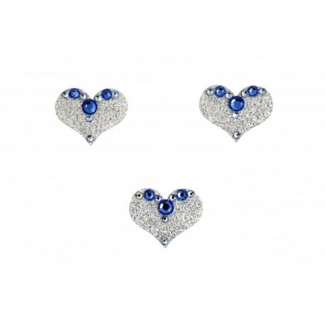 Nalepovací stříbrné srdce se Swarovski Elements křišťály modrá Sapphire na tělo a vlasy