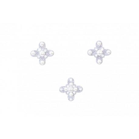 Nalepovací stříbrný křížek se Swarovski Elements křišťály Bílá na tělo a vlasy