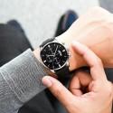 Pánské ručičkové hodinky Cuena s datumem kožený pásek