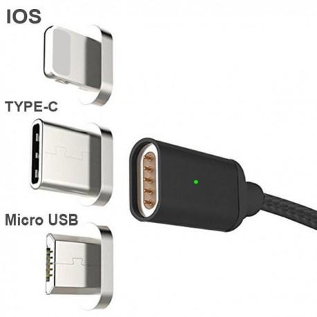 DZL Nabíjecí magnetický kabel 3 v1 Lightning , USB-C, micro USB