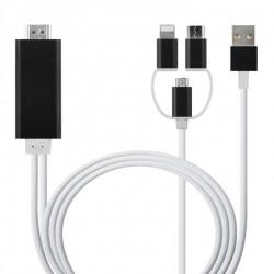 Kabel 3 v 1 s redukcí Lightning, Micro USB a USB-C na HDMI