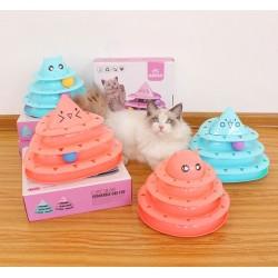 Hračka pro kočky věž s míčky obličej 25 cm