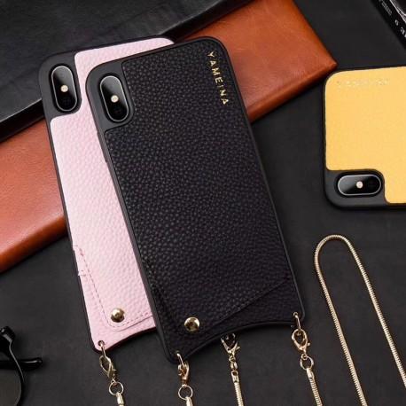 Kožené pouzdro YAME iPhone X/XS na krk s kapsou pro kreditky