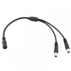 Rozbočovací kabel Y s konektory DC 5,5 x 2,1mm, 1x zásuvka černá