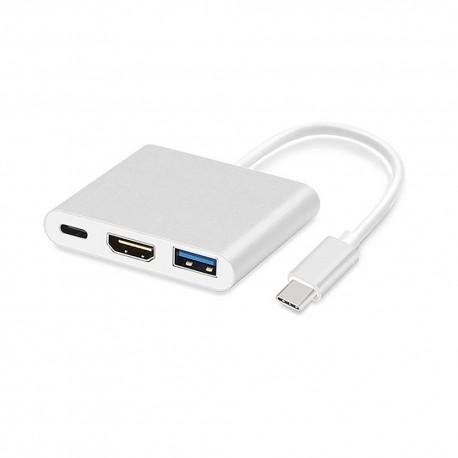 Adapter - USB Typ C na HDMI, USB, USB Typ C 4K*2K stříbrný 0,25 m bílý