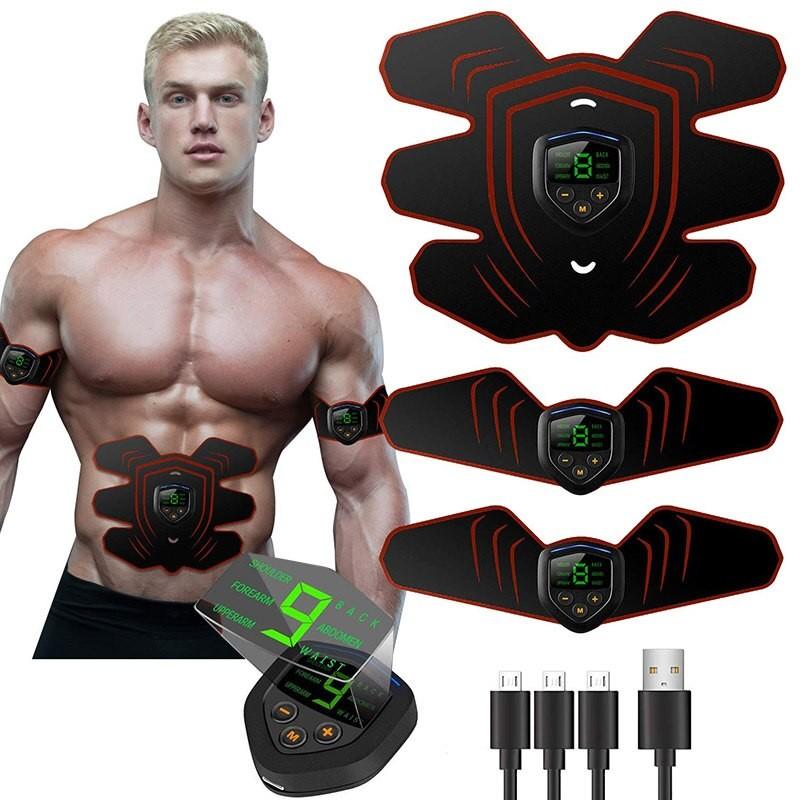 EMS Elektrický posilovač břišních svalů Smart Fitness + na ruce nabíjení USB