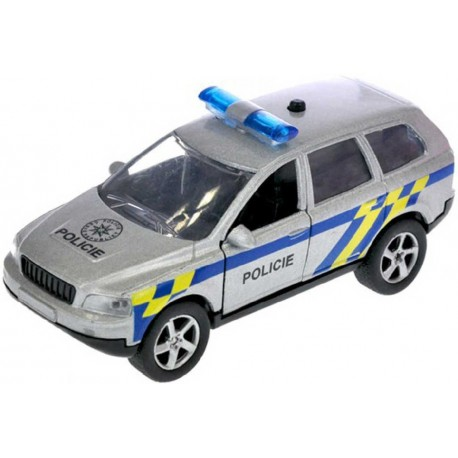 Auto kovové policie 11cm zpětný nátah CZ na baterie mluví česky Světlo Zvuk