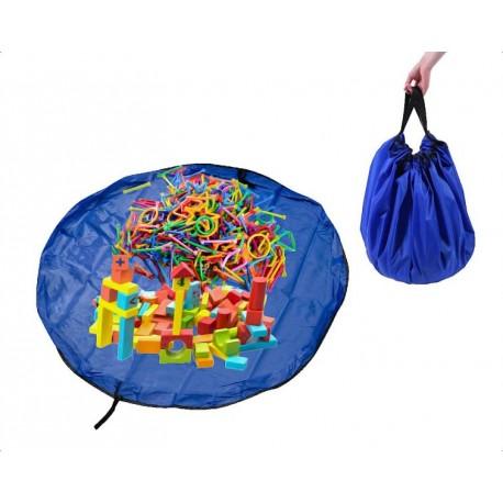 Hrací deka vak na hračky 150 cm 2v1 modrá