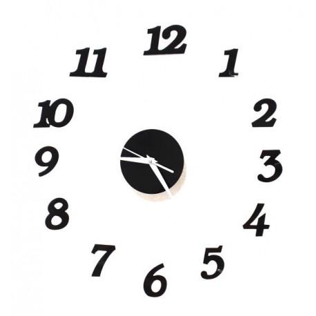Designové 3D nalepovací hodiny 130 cm černé