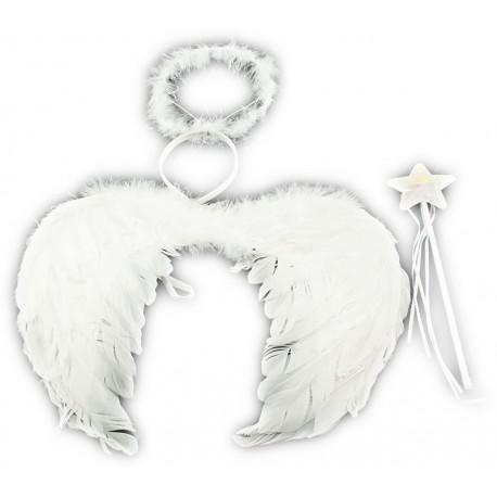 Křídla anděl péřová + svatozář + hůlka