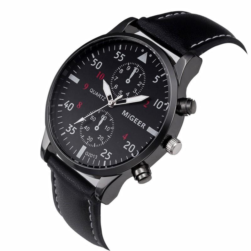 1c2f0a714 Migeer Pánské ručičkové hodinky kožený pásek - Dianashop.cz