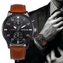 Migeer Pánské ručičkové hodinky kožený pásek