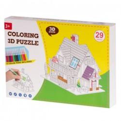 Papírové 3D puzzle s barvičkami Dům 29 dílů