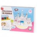 Papírové 3D puzzle s barvičkami Zámek 38 dílů