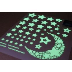 Fluorescenční ozdoba na zeď hvězdičky 52ks