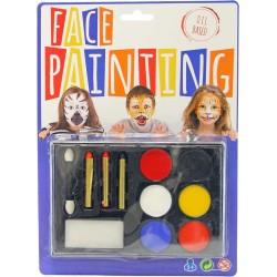 Malování na obličej barvy obličejové set 6ks se štětečky a houbičkou