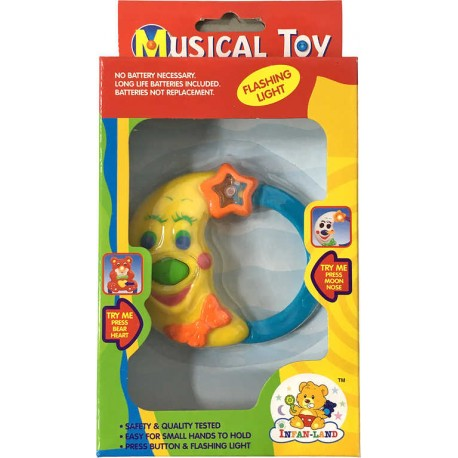 Baby chrastítko hrací měsíček hudební na baterie Světlo Zvuk pro miminko