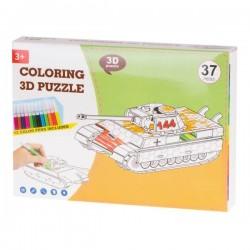 Papírové 3D puzzle s barvičkami Tank 37 dílů