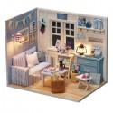 Dřevěný domeček pro panenky modrý DIY 3016