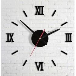 Designové 3D nalepovací hodiny 13 cm Římské číslice černé / stříbrné