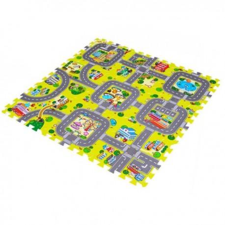 Pěnový koberec 30 x 30 cm město 9ks