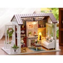 Dřevěný domeček pro panenky salón LED 8008-A