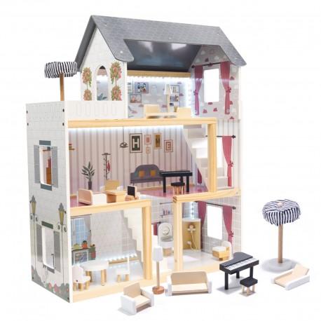 Domeček pro panenky s LED osvětlením a příslušenstvím 78 cm