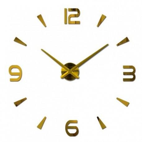 Designové 3D nalepovací hodiny 120 cm zlaté