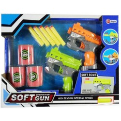 Pistole barevná 2ks herní set se soft pěnovými náboji a terči
