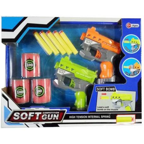 Hra set 2 pistole na pěnové náboje + plechovky 5ks k sestřelení