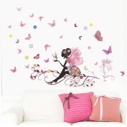 Samolepky na zeď - víla s motýlky