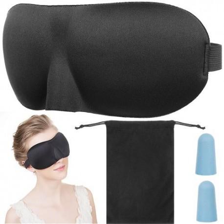 Maska na spaní 3D + špunty do uší černá