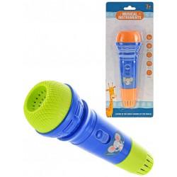 Mikrofon dětský barevný 18cm na kartě plast