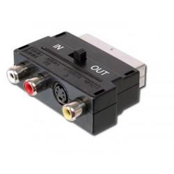 Adapter SCART - 3x cinch + S-video s přepínačem IN/OUT