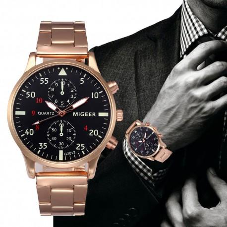 Migeer Pánské ručičkové hodinky kovový pásek