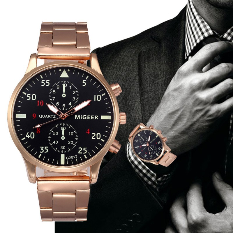 b4e7e3c6534 Migg Pánské ručičkové hodinky kovový pásek 032 - Dianashop.cz