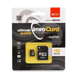 Paměťová karta IMRO microSDHC 8GB + adaptér SD (Blister)
